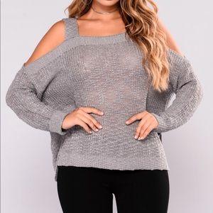 Ash Grey Cold Shoulder Sweater